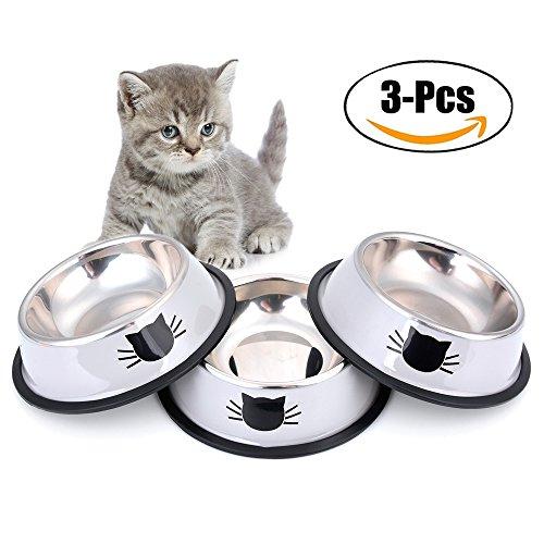 Futternapf Katze, Legendog 3 Stück Edelstahl Rutschfest Katzen Napf | Katzennapf Set | Fressnapf Katze | Trinknapf katze | Futterschüssel Katze | Wasser Fütterung Schüssel | Katzenfutter Wassernapf Schüssel | für Katzen Kaninchen Hamster 11.5*15.5*3.5 CM (Grau)