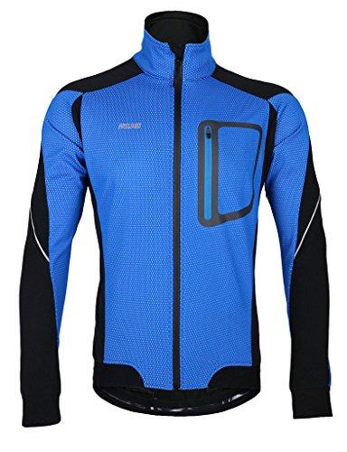 iCreat Herren Jacke Air Jacket Winddichte Lauf- Fahrradjacke MTB Mountainbike Jacket Visible reflektierend, Fleece Warm Jacket für Herbst, Blau Gr.XL
