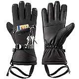 LOHOTEK Skihandschuhe Herren Winter Ski-Handschuhe für Männer und Frauen - Winddichtes Touchscreen-Design für Außenbereich (Schwarz, L)