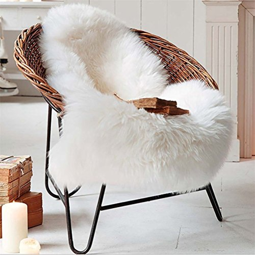 Faux Lammfell Schaffell Teppich 60X90 CM, Kunstfell Dekofell Lammfellimitat Teppich Longhair Fell Nachahmung Wolle Bettvorleger Sofa Matte (Weiß)