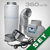 GrowPRO Aktivkohlefilter Lüftungsset inkl. Rohrventilator 230/360 m³/h AKF Belüftungsset für Growbox/Homebox