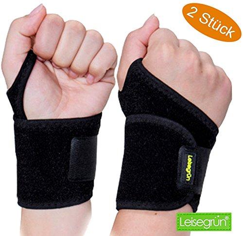 Handgelenkbandage [2er Set] mit Klettverschluß. Sport Handgelenkschoner für Fitness, Krafttraining, Bodybuilding. Handgelenkbandage auch bei Sehnenscheidenentzündung, für Damen und Herren, Schwarz