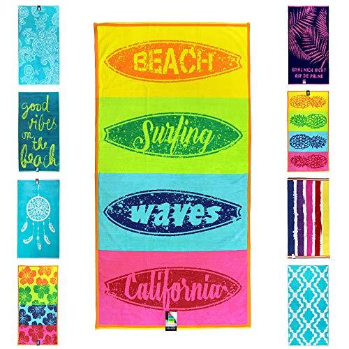 jilda-tex Strandtuch 90x180 cm Badetuch Strandlaken Badelaken Strandhandtuch 100% Baumwolle XXL (Venice Beach)