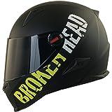 Broken Head BeProud Helm | Motorradhelm Set inkl. Schwarzem Visier - Integralhelm - Karthelm - Nakedbike schwarz-matt L (59-60 cm)