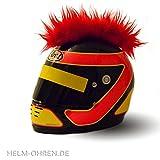 Helm-Irokese - Farbe: 'Rot' - gemacht für den Motorradhelm, Crosshelm, Motocrosshelm oder Skihelm - verwandelt den Helm in ein EINZELSTÜCK - der HINGUCKER - Irokesenaufsatz Punk - Helm-Aufkleber