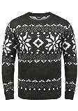 !Solid Norwig Herren Weihnachtspullover Norweger-Pullover Winter Strickpullover Grobstrick Pullover mit Rundhalsausschnitt, Größe:XXL, Farbe:Dark Grey Melange (8288)