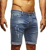 LEIF NELSON Herren Jeans Shorts LN1397; W29; Blau