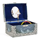 JewelKeeper - Spieluhr Schmuckkästchen für Mädchen mit drehender Fee und Stern Design in Blau und Weiß - Schwanensee Melodie
