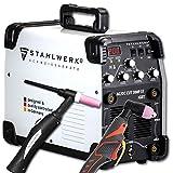 STAHLWERK AC/DC WIG 200 Plasma ST IGBT - Kombi 200 Amp WIG + MMA Schweißgerät mit 50 Amp CUT Plasmaschneider, ALU geeignet, weiß, 5 Jahre Garantie