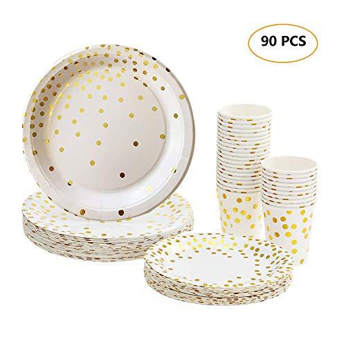 esonmus 90 Pappbecher Pappteller, Pappgeschirr 30pcs 9oz Papierschalen 30pcs 7' Platten 30pcs 9' Platten für Picknicks und Partys, Einweg Papier Geschirr Set für Kindergeburtstag (90PCS-2)
