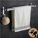 Wangel Doppel-Handtuchstange Handtuchhalter ohne Bohren 60cm Patentierter Kleber + Selbstklebender Kleber Aluminium Matte Finish