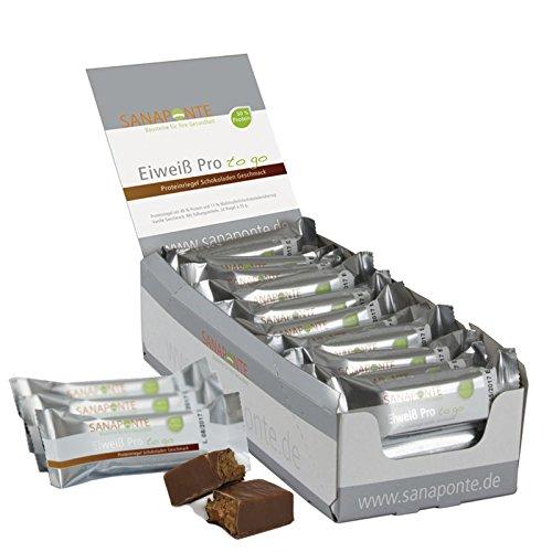 !! Neu !! TESTSIEGER !! Sanaponte Eiweiß Pro'to go' Riegel 50% Protein (24x 35g Riegel) Low Carb Protein Riegel Schokoladen Geschmack - Protein Bar - nur 125 kcal pro Riegel