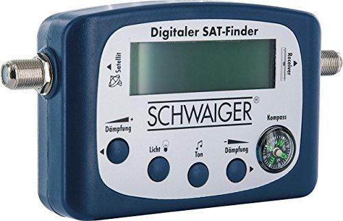 SCHWAIGER -5170- SAT-Finder digital / Satellitenerkennung / Satelliten-Finder mit integriertem Kompass und Tonausgabe / Ausrichtung LNB / Messgerät zur optimalen Positionierung der Satelliten-Schüssel