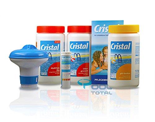 Cristal Poolpflege-SET Chlor 3,7 kg - Wasserpflege Starterset 6-teilig für cristalklares Schwimmbadwasser