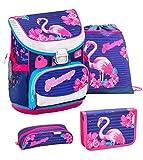 Belmil ergonomischer Schulranzen Set 4 -teilig für Mädchen 1, 2 Klasse Grundschule/Super Leicht 760-820 g/Brustgurt/Flamingo/Blau, Pink (405-33 Flamingo)