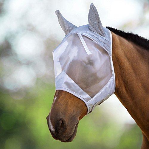 Harrison Howard Fliegenmaske UV-Schutz Fleece Gepolstert Ohne Nase Silber