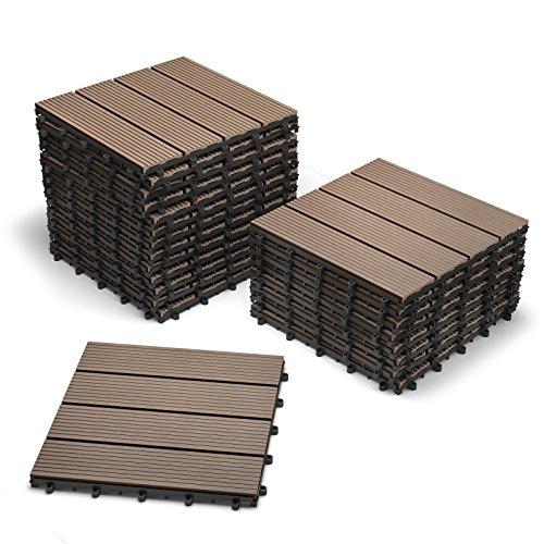 SAM Terrassen-Fliese WPC Kunststoff, 22er Spar Set für 2m², Farbe Schoko, Garten Bodenbelag, Drainage, klick-Fliesen
