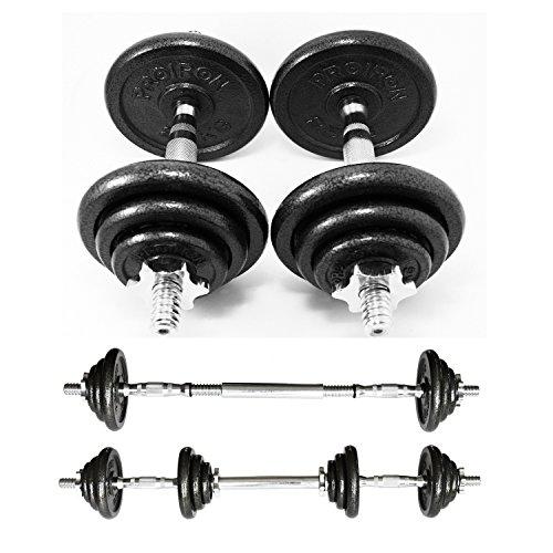 PROIRON Kurzhanteln Gusseisen Hantel 2er Set, Varianten 20kg gerändelt mit Sternverschlüssen mit Anschlussgriff(Barbell-satz/Hantel Set)