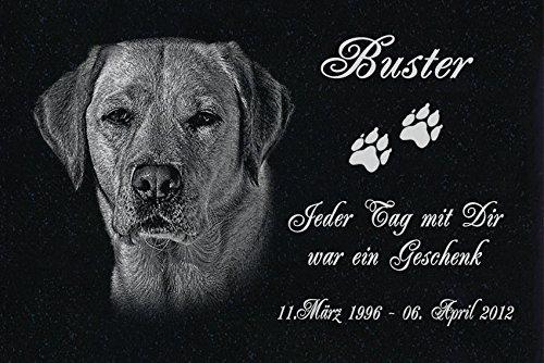 GRANIT Grabstein - Grabplatte - Grabschmuck mit der Lasergravur des Motives 'Hund-ag39' (mit dem Musterbild oder Ihrem eigenen Foto - siehe Auswahl) und Ihrem Foto/Text und Daten von LaserArt24
