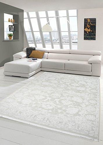 Merinos Vintage Teppich modern Wohnzimmerteppich Designteppich mit Fransen in Creme Größe 80x150 cm