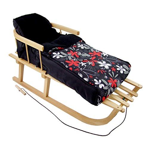 Rawstyle *Kombi-Paket* Holz-Schlitten mit Rückenlehne & Zugseil + universaler Winterfußsack (90cm) Fleece, auch geeignet für Babyschale, Kinderwagen, Buggy