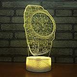 L2eD 3D Illusion Lampe Led Nachtlicht USB/Batteries Tischlampe 7 Farben Berührungsschalter Acryl & Abs Basis & Kind Geschenke Luxusuhr