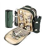 The Greenfield Collection BPSD2DGHPW Super Deluxe zwei Personen luxus Picknick Rucksack mit passender Picknickdecke, förstergrün