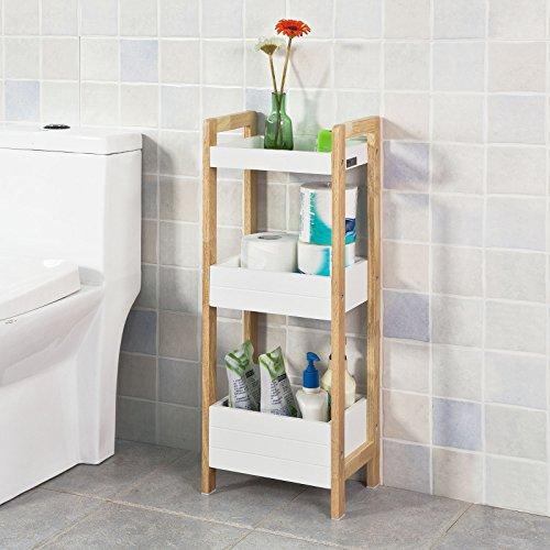 SoBuy FRG226-WN Badregal in weiß/Bambus, Standregal Küchenregal mit 3 Ablagefächern BHT ca: 28x74x20cm