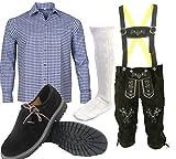 S 2 Trachtenset (Hose +Hemd +Schuhe +Socken ) Bayerische Lederhose Trachtenhose Oktoberfest Leder Hose Trachten (Hose 48 Hemd 38/39)