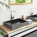 wohnfreuden Marmor Waschbecken 60 cm  recht-eckig anthrazit  Steinwaschbecken oder Naturstein-Waschbecken für Bad Gäste WC  inkl. techn. Zeichnung  schnell