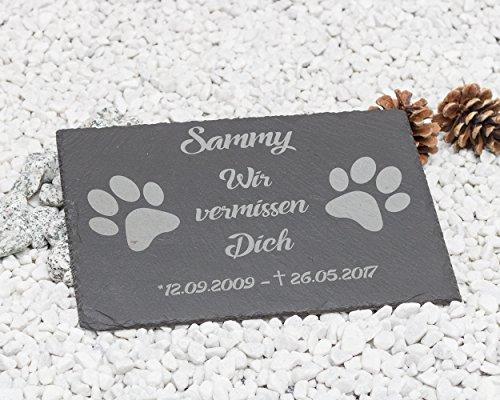 Gedenktafel mit Gravur 'Tatzen' Grabstein / Grabplatte mit Gravur ca. 30 x 20 cm für Tiere / Hund Katze Pferd schönes Andenken an die Liebsten-Text-gravur - kein Druck!