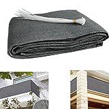 Balkon Sichtschutz UV-Schutz blickdichte wetterbeständige Balkonbespannung Balkonverkleidung mit Kabelbindern HDPE-Spezialgewebe 5 Meter (90x500cm) Grau
