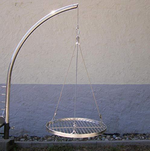 Grillgalgen + Edelstahl Grillrost 37 cm rund für Grill Schwenkgrill Feuerschale Feuerstelle