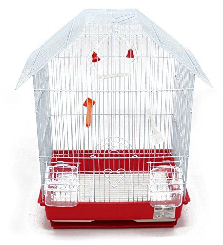 BPS Metall-Vogelkäfig mit Vogelfutterstation Schaukel Wanne Farbe zufällig 34.5 x 28 x 46 cm BPS-1152
