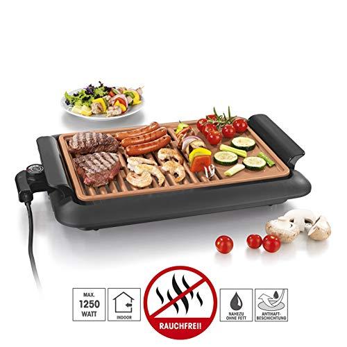 GOURMETmaxx Tischgrill elektrisch     Tisch Elektrogrill für Draußen und Drinnen, Grill Platte mit zwei Garbereichen   Keramik Antihaftbeschichtung, max. 220 °C, [ [1250 Watt]