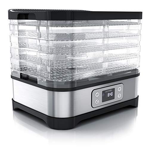 Arendo - Dörrautomat mit Temperaturregler - Edelstahl Dörrgerät für Lebensmittel Fleisch Früchte Gemüse - 260 W - mit Timer bis zu 72 h - 35 - 70 Grad - 5 Einlegefächer - GS - Dehydrator - BPA frei