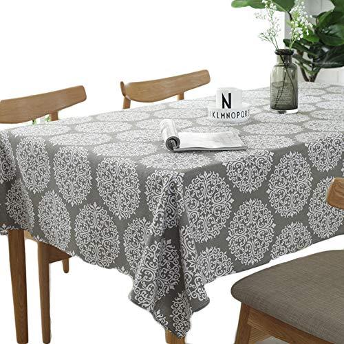 Meiosuns Grey Retro Tischdecke Rechteckige Tischdecke Baumwolle Leinen Tischdecke Geeignet für Home Küche Dekoration, Verschiedene Größen (140x260cm)