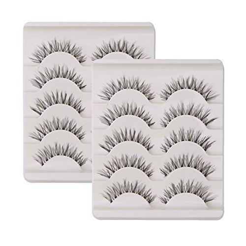10 Paar Falsche Wimpern Natürlich Lange 3D 100 % Handgefertigte Künstliche Wimpern Verlängerung Schwarz