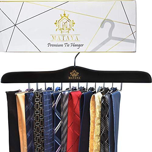 MATAYA Krawattenhalter / Krawattenbügel aus Holz – Premium Kleiderschrank Kleiderbügel Halterung für Krawatten – Holzbügel aus Hartholz – Zur Aufbewahrung von 24 Krawatten & Gürtel, Schals
