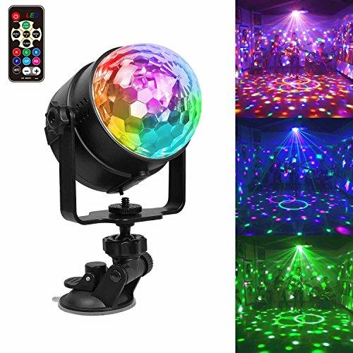 USB Party Licht Partybeleuchtung LED Discokugel, Chenci Auto Stimmungslicht 7 Farbe Modi Disco Glühbirne sprachsteuerte Partylicht mit Fernbedienung, Halterung, Batterie Kinder Geschenk (4)