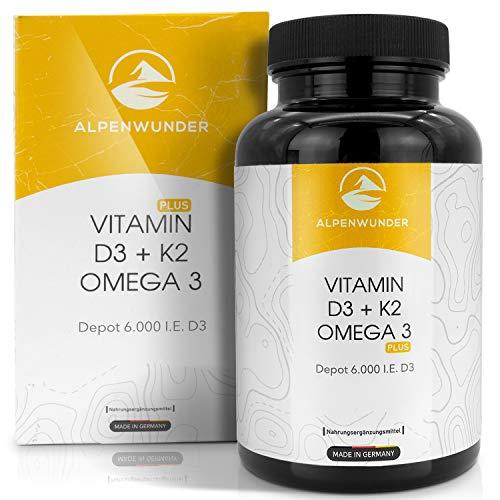 Premium Vitamin D3 und K2 + Omega 3 Fischöl Kapseln hochdosiert | Alpenwunder 100% MADE IN GERMANY | 185 hochwertige Vitamin D3+K2 und Omega 3 Fischölkapseln, hergestellt gemäß DIN EN ISO 9001