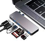 FLYLAND USB C Hub Typ C Hub Adapter, 3 USB 3.0 Anschlüsse, TF/SD Kartenleser, USB C Stromversorgung, 6 in 1 Aluminium Adapter für MacBook Pro 13'und 15' 2016/2017/2018