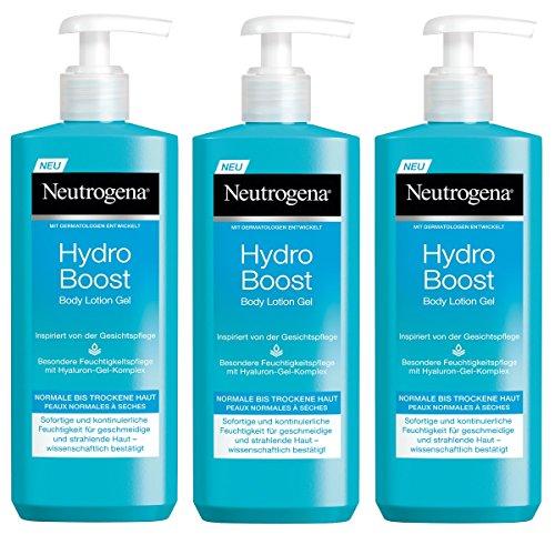 Neutrogena Hydro Boost Body Lotion Gel/Erfrischende und ultra-leichte Body Lotion mit Hyaluron / 3 x 400ml