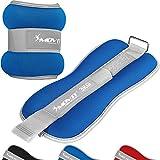 MOVIT 2er Set Gewichtsmanschetten Neopren mit Reflektormaterial und Frottee-Einsatz Laufgewichte für Hand- und Fußgelenke 2X 3 kg blau