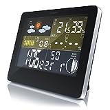 CSL - Funk Wetterstation mit Farbdisplay | inkl. Außensensor | DCF Empfangssignal / Funkuhr | Mondphasen-Anzeige / Innen- und Außentemperatur / Wettervorhersage-Piktogramm uvm. | LCD-Display | IP34 (A