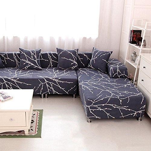 HYSENM 1/2/3/4 Sitzer Sofabezug Sofaüberwurf Stretch weich elastisch farbecht Blumen-Muster, Grau 4 Sitzer 235-300cm
