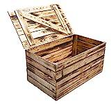Neue Holztruhe geflammt *groß* - Truhe Holzkiste Wäschetruhe Aufbewahrungskiste Sitzbank Sitzkiste Obstkisten Kiste mit Deckel flambiert / flammbiert massiv85x55x46cm