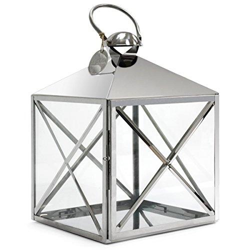 Dekovita Luxus Edelstahl-Laterne mit Edelstahlgriff Gartenlaterne m Querstreben L:30xB30xH56cm m Glasfenstern Windlicht
