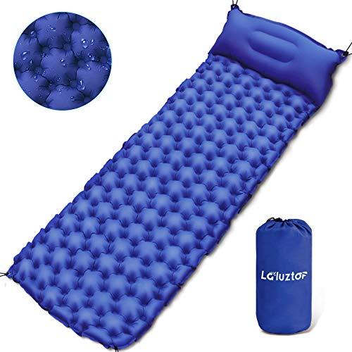 Yirenyoupin Isomatte Camping, Schlafmatte mit Kissen 4X Seile kleines Packmaß Aufblasbare Luftmatratze aus 40D Nylon and TPU, Ideal für Camping/Reise/Wandern, 190x60x6,5cm