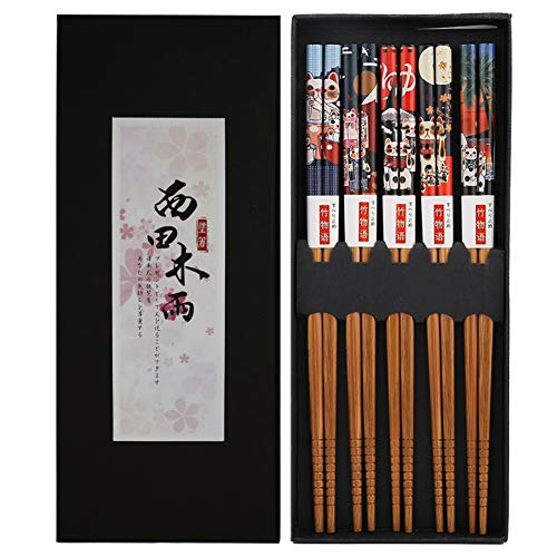 Bosdontek Japanische Sushi EssstäBchen 5 Pairs EssstäBchen Holz Wiederverwendbare NatüRliche EssstäBchen Waschbar FüR GeschirrspüLer EssstäBchen Mit LuxuriöSe Schwarz Handgemachte